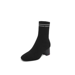 Belle/百丽瘦瘦靴2018冬专柜新款黑色飞织帮布加银丝字母帮面袜靴女中靴BVH60DZ8