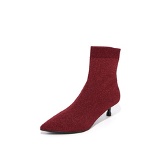 Belle/百丽2018冬专柜新款酒红飞织帮面小猫跟袜靴女?#37266;?BA460DZ8