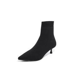 Belle/百丽瘦瘦靴2018冬专柜新款黑色飞织帮面小猫跟袜靴女中靴 BA460DZ8
