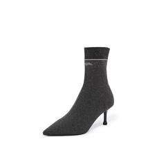 Belle/百丽瘦瘦靴2018冬专柜新款银灰金属丝飞织帮面细跟袜靴女中靴BA862DZ8