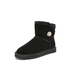 Belle/百丽2018冬季新款牛剖层革休闲雪地靴女短靴 毛里33523DD8
