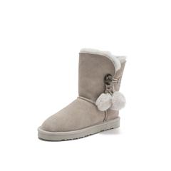 Belle/百丽2018冬季新款牛剖层革休闲女雪地靴中靴(毛里)58031DZ8
