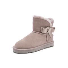 Belle/百丽2018冬季新款牛剖层革休闲雪地靴女短靴(毛里)33583DD8