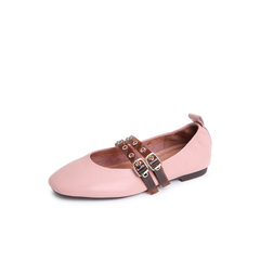 Belle/百丽2018秋专柜新款粉/啡摔纹牛皮革玛丽珍女皮鞋BYY09CQ8