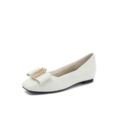 Belle/百丽2018秋专柜新款米白牛皮革低跟闪钻女休闲鞋S8L1DCQ8