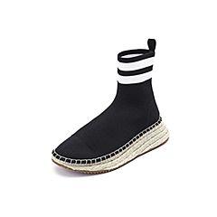 Belle/百丽2018冬季专柜新款黑色条纹飞织帮面袜靴女靴BTK61DZ8