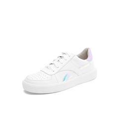 Belle/百丽2018秋专柜新款白色牛皮革酷感运动风小白鞋女休闲鞋S8S1DCM8