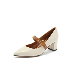 Belle/百丽2018秋专柜新款米白羊皮革玛丽珍粗跟女单鞋S8P1DCQ8