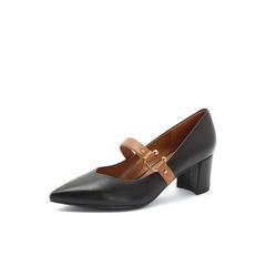 Belle/百丽2018秋专柜新款黑色羊皮革玛丽珍粗跟女单鞋S8P1DCQ8