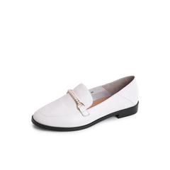 Belle/百丽2018秋专柜新款白色绵羊皮革马衔扣乐福鞋女单鞋BPZB5CM8