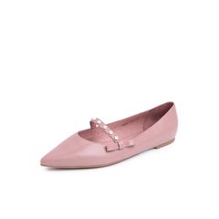 Belle/百丽2018秋新粉色羊皮革平底清新玛丽珍鞋尖头女休闲鞋80853CQ8
