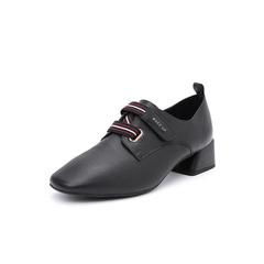 Belle/百丽2018秋季专柜新款牛皮革复古方头织带女单鞋S9L1DCM8