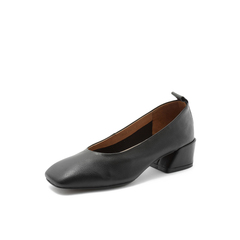Belle/百丽2018秋专柜新款黑色牛皮革方头奶奶鞋女皮鞋S9D1DCQ8