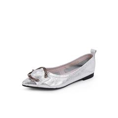 Belle/百丽2018秋专柜新款金属装饰银色牛皮革女单鞋S8W1DCQ8