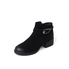 Belle/百丽2018冬专柜新款磨砂羊皮革女短靴BE640DD8
