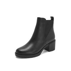 Belle/百丽2018冬季专柜新款油皮牛皮革切尔西靴女短靴BE540DD8