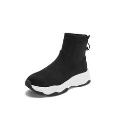 Belle/百丽2018冬季专柜新款弹力绒布厚底运动风女短靴(绒里)BC146DD8