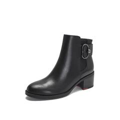 Belle/百丽2018冬季专柜新款油皮牛皮革切尔西靴女短靴BWM52DD8