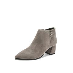 Belle/百丽2018冬专柜新款羊绒皮革粗跟尖头女及踝靴BYN42DD8