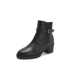 Belle/百丽2018冬季专柜新款油皮牛皮革切尔西靴女短靴BWX45DD8