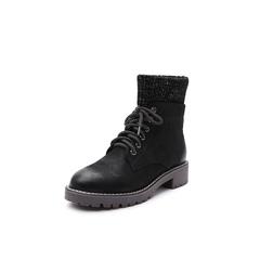 Belle/百丽2018冬季专柜新款荔纹珠光磨砂牛皮革袜套马丁靴女短靴BZT54DD8