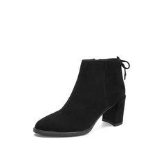 Belle/百丽2018冬专柜新款羊绒皮革尖头粗跟女及踝靴(单里)BUL41DD8