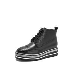 Belle/百丽厚底马丁靴2018冬专柜新款油皮牛皮革女短靴BAZ42DD8