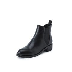 Belle/百丽2018冬季专柜新款牛皮革切尔西靴女短靴绒里T1D1DDD8