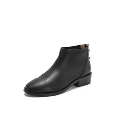 Belle/百丽2018冬季专柜新款黑色简约牛皮革后拉链女短靴T1A1DDD8
