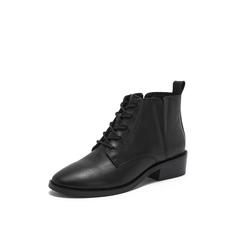 Belle/百丽2018冬季专柜新款黑色牛皮革系带尖头女皮短靴T1A2DDD8