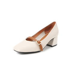 Belle/百丽专柜同款浅?#20248;?#30382;革女皮鞋T2G1DCQ8