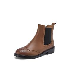Belle/百丽2018冬季新款布洛克纹油皮牛皮革女切尔西靴BKDA9DD8