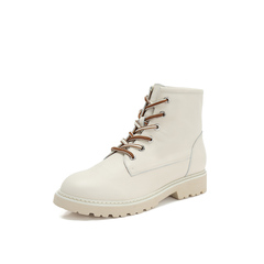 Belle/百丽小白靴2018冬新款米白色牛皮革女短靴马丁靴13839DD8