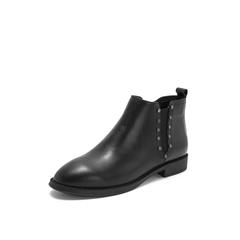 Belle/百丽2018冬季专柜新款黑色牛皮革切尔西靴女及踝靴T1N1DDD8