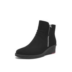 Belle/百丽2018冬季专柜新款磨砂牛皮革女休闲靴T1H1DDD8