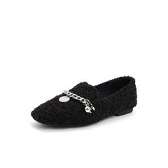 Belle/百丽2018秋季新款仿羊羔毛休闲乐福鞋女单鞋07140CM8