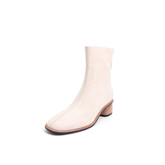 Belle/百丽2018冬季新款白色简约羊皮革女短靴89129DD8
