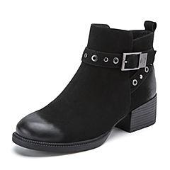 Belle/百丽2018冬季新款磨砂皮带扣装饰羊皮革女短靴06732DD8