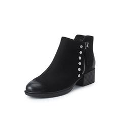 Belle/百丽2018冬季专柜新款黑色磨砂羊皮革女及踝靴(绒里)T2H1DDD8