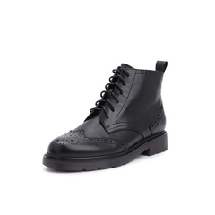 Belle/百丽2018冬季专柜新款羊皮革马丁靴女短靴S9T2DDD8