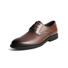 Belle/百丽2018秋季新款棕色牛皮革商务正装系带男皮鞋10822CM8