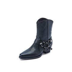 Belle/百丽2018冬专柜新款压纹牛皮革潮酷西部靴女中靴BF542DZ8