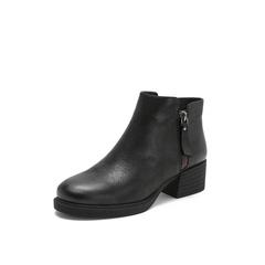 Belle/百丽2018冬专柜新款牛皮革女短靴T2S1DDD8