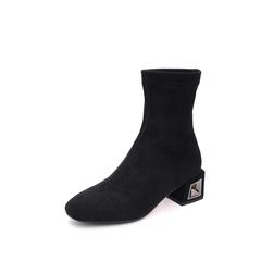 Belle/百丽2018冬季专柜新款弹力布方跟女中靴弹力靴T3G1DDZ8
