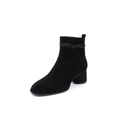 Belle/百丽2018冬季专柜新款羊皮革圆头粗跟女短靴T3T1DDD8