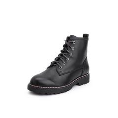 Belle/百丽2018冬季专柜新款牛皮革马丁靴女短靴(绒里)T3R1DDD8