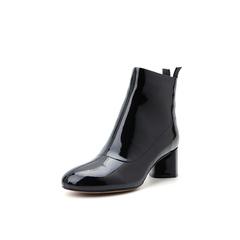 Belle/百丽2018冬季专柜新款皱漆牛皮革粗跟时尚女短靴T3X1DDD8