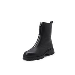 belle/百丽2018冬季新款摔纹牛皮革前拉链女皮靴88813DZ8