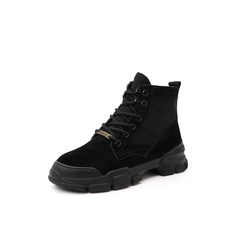 Belle/百丽马丁靴2018冬季专柜新款猪巴戈/布复古酷帅厚底女旅游靴T3Z1DDD8