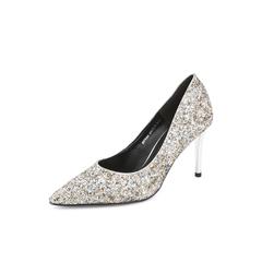 Belle/百丽细高跟单鞋2019春新款亮片布尖头女鞋BVVA4AQ9